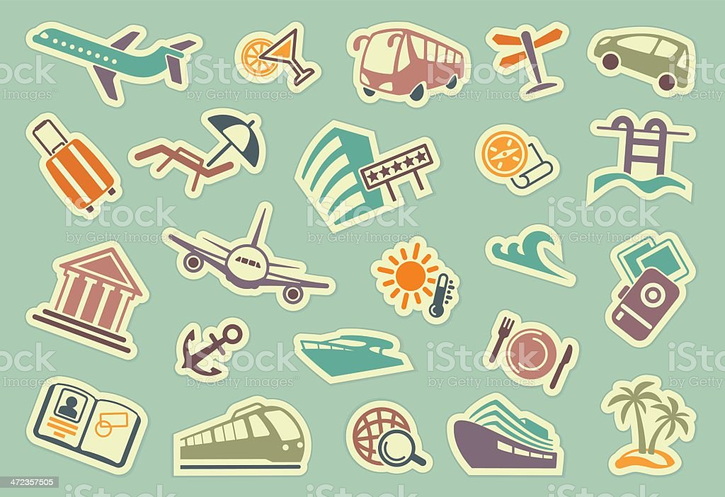 Travel icons on stickers royalty-free stock vector art