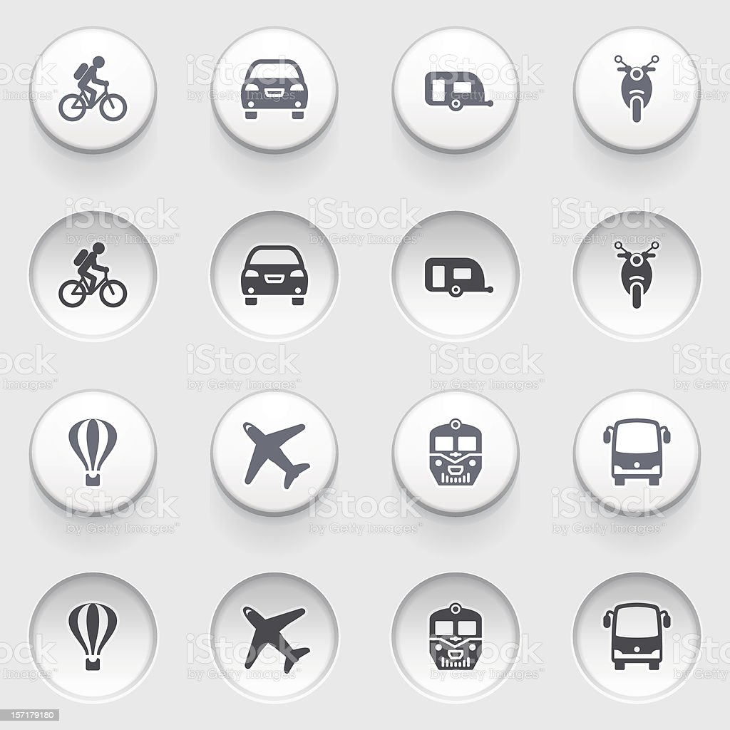 Travel icons on white buttons. Set 1. stock photo