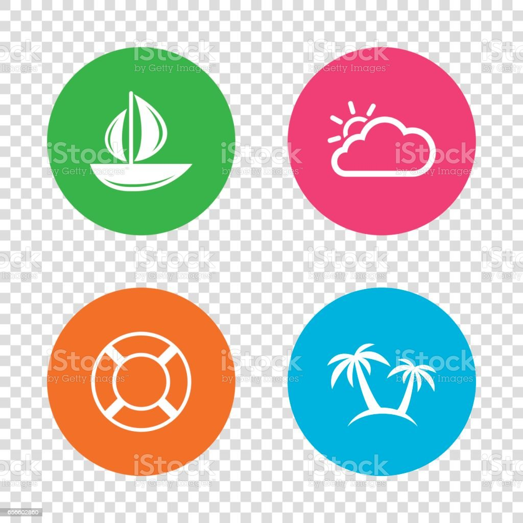 Travel icons. Sail boat with lifebuoy signs. vector art illustration