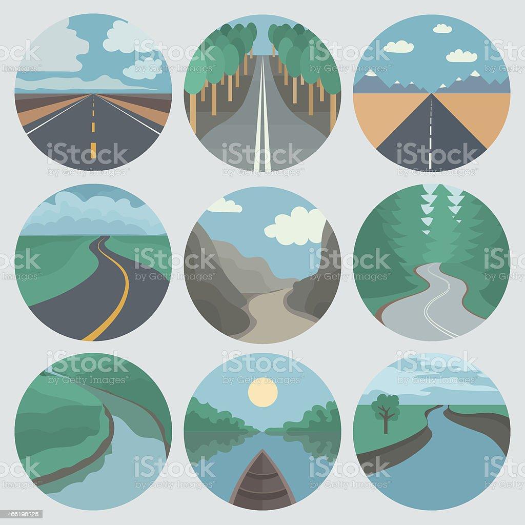Travel Icons Set: Landscapes vector art illustration