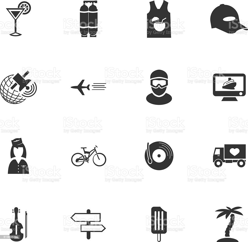 Travel icons set vector art illustration