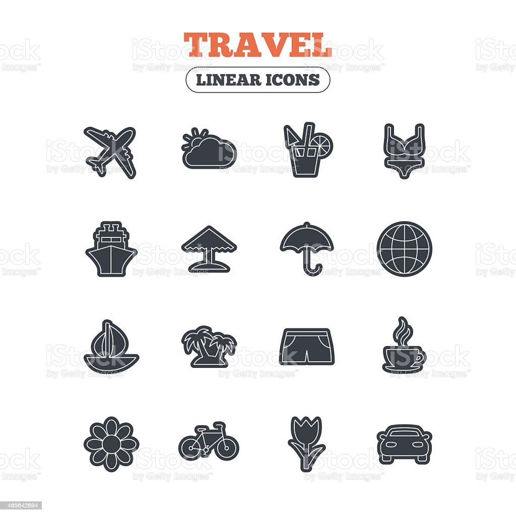 Travel icons. Ship, plane and car transport vector art illustration