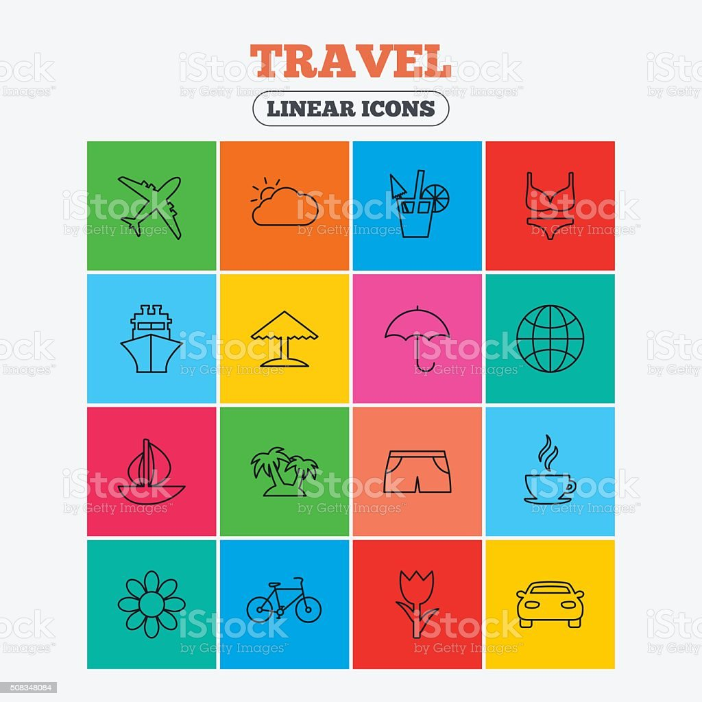 Travel icons. Ship, plane and car transport. vector art illustration