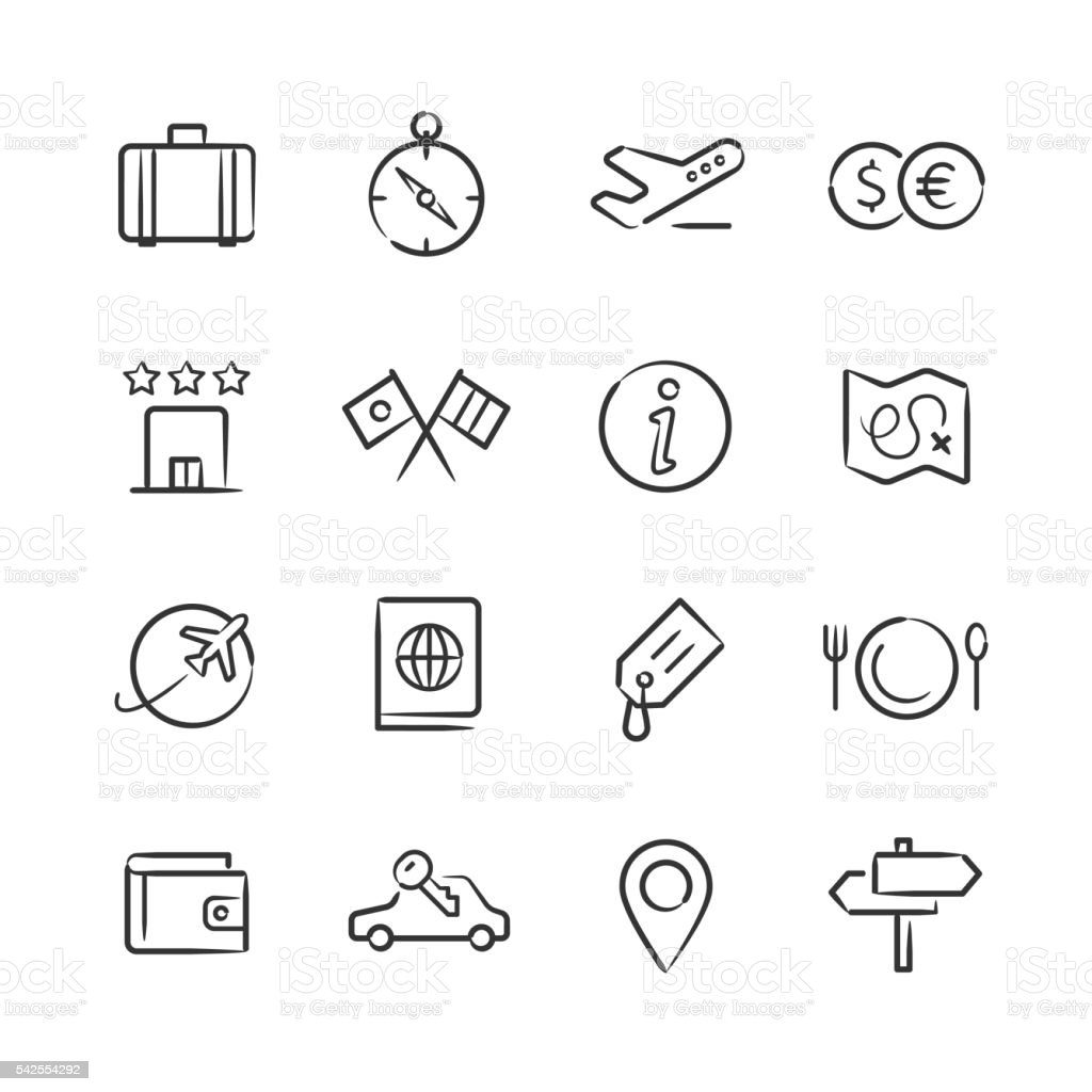 Travel Icons — Sketchy Series vector art illustration
