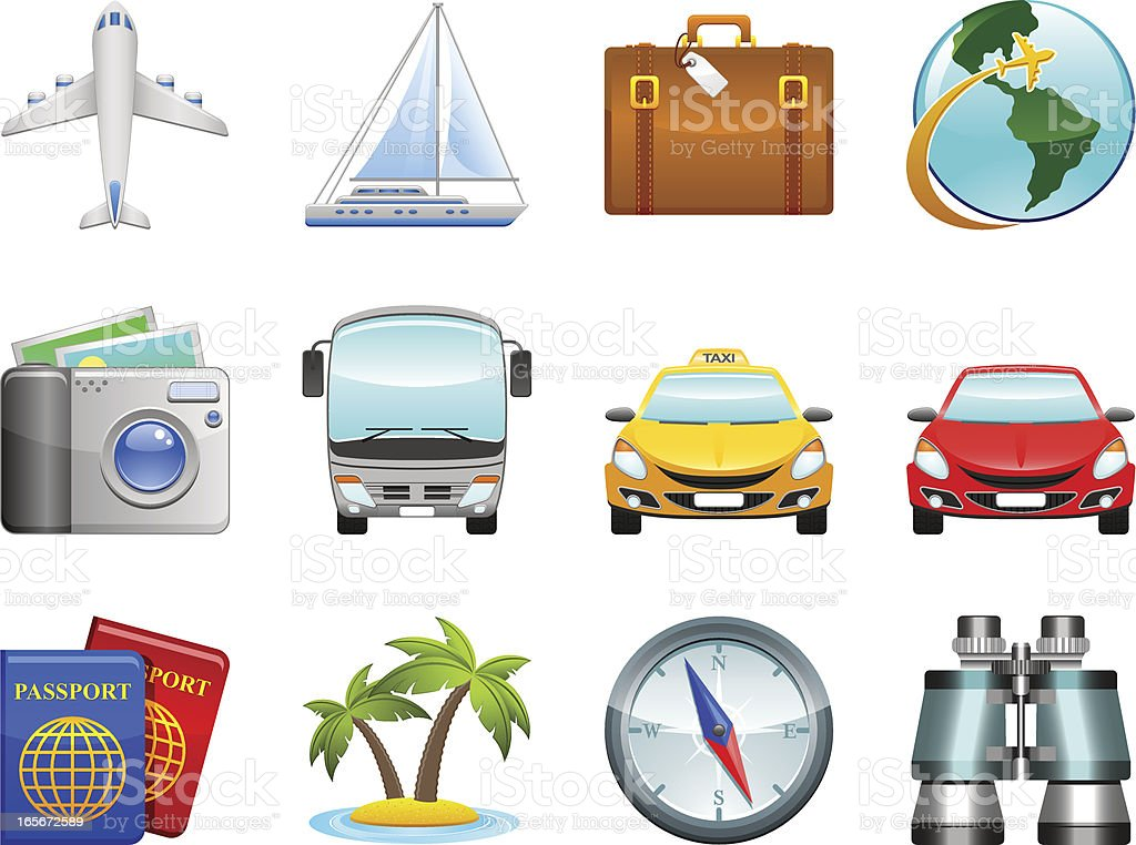 Travel icons royalty-free stock vector art