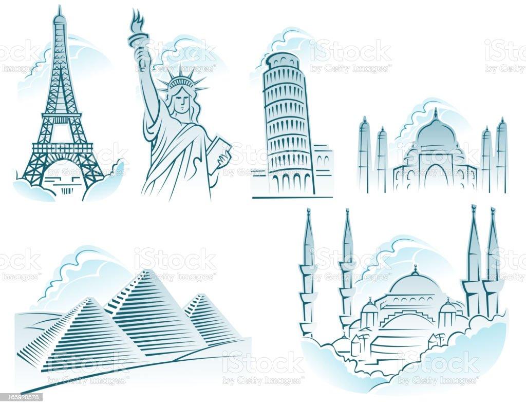 travel icons vector art illustration