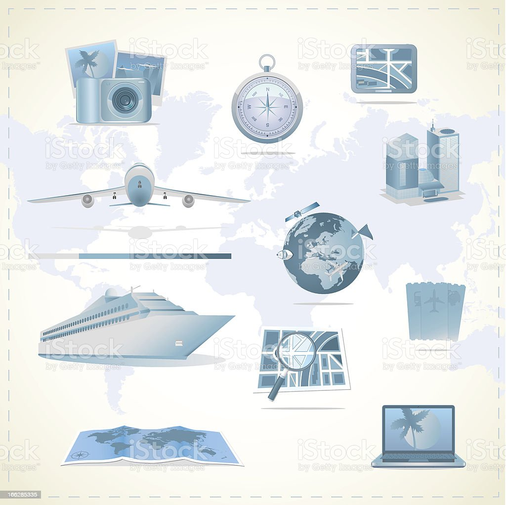 Travel icons. royalty-free stock vector art
