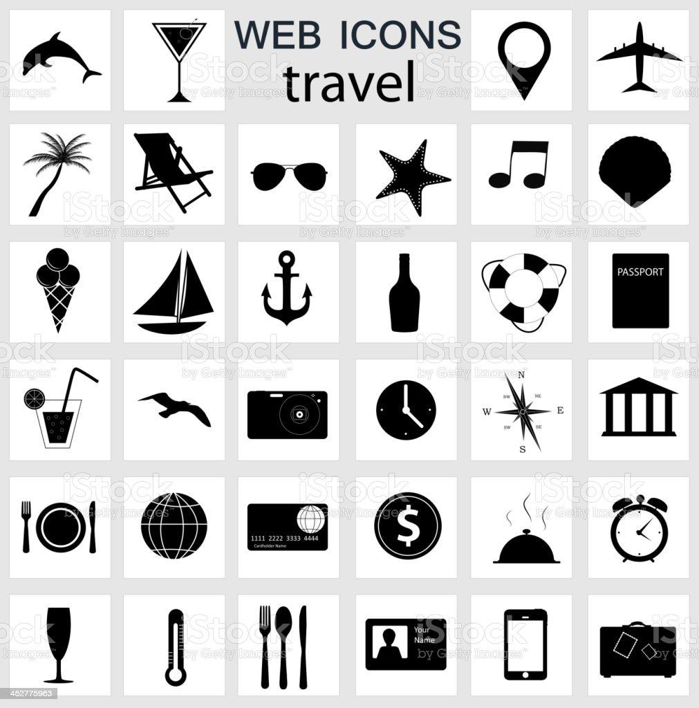 travel icons vector illustration vector art illustration