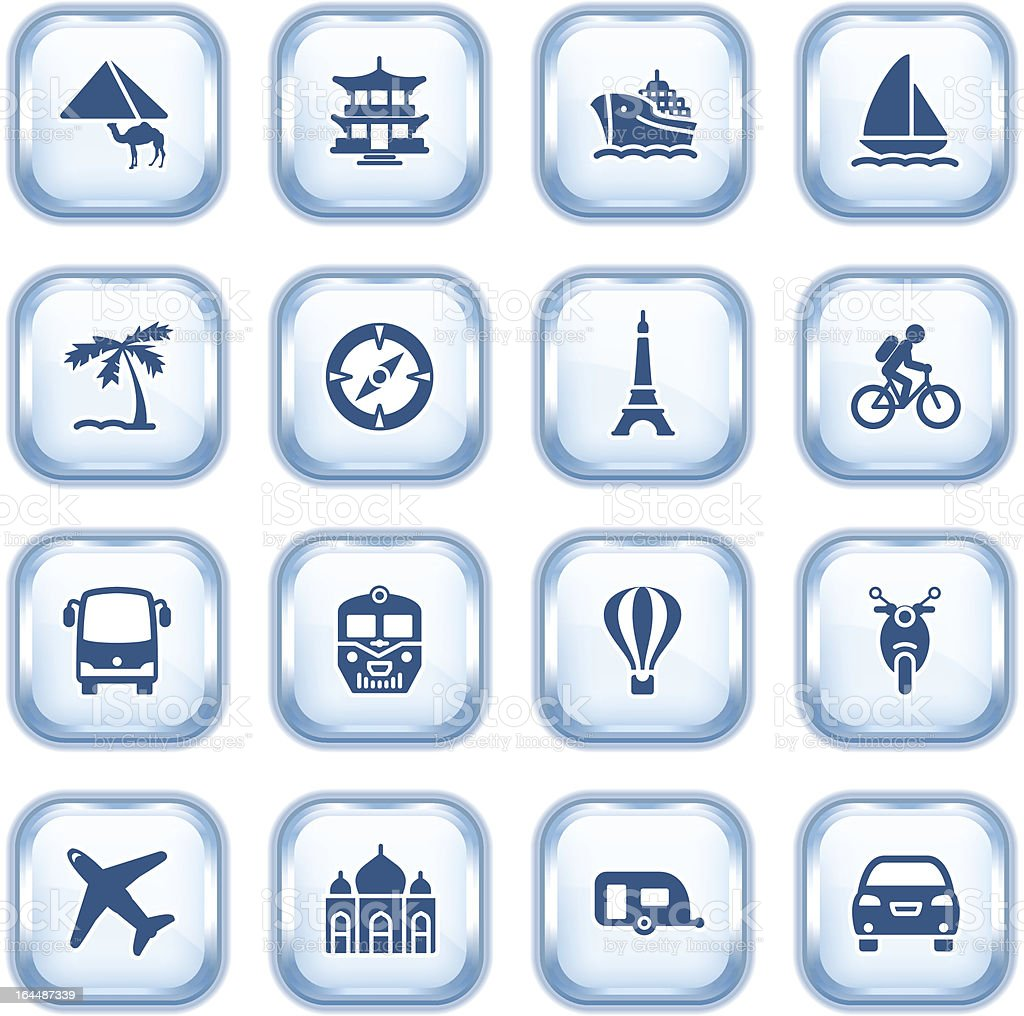 Travel icons with color buttons on gray background. royalty-free stock vector art