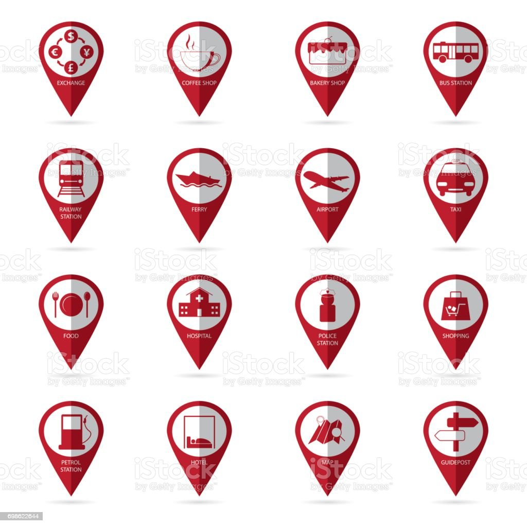 travel icons with location icon vector art illustration