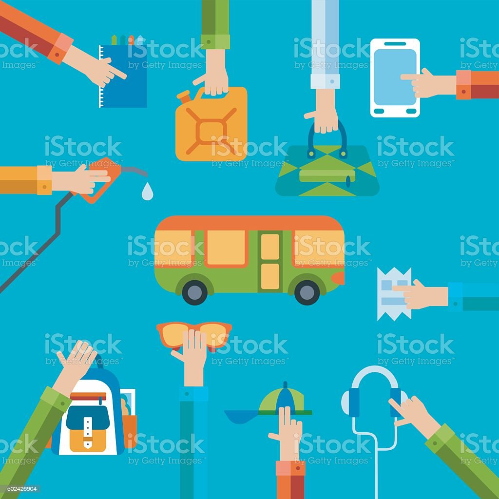 Travel illustration with hands holding bags and different objects vector art illustration