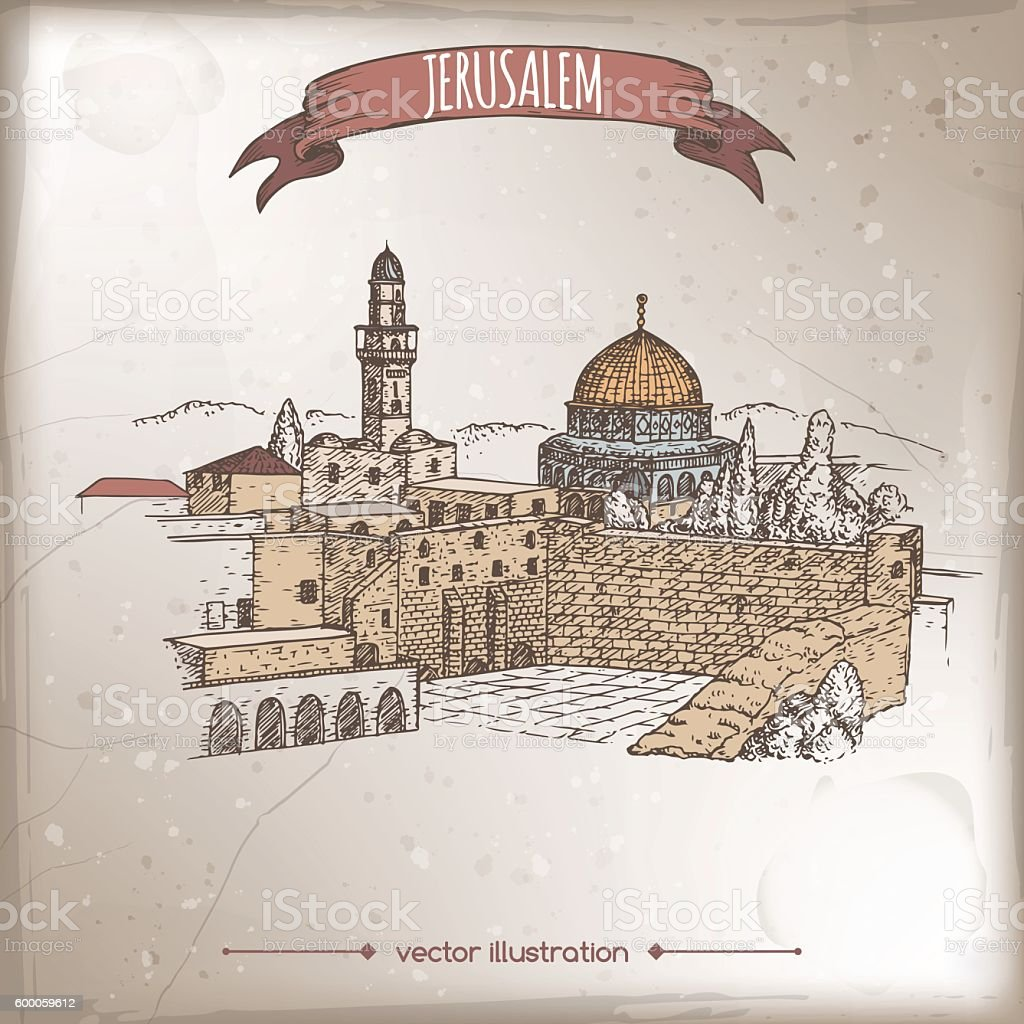 Travel illustration with Wailing Wall, Dome of the Rock, Jerusalem. vector art illustration