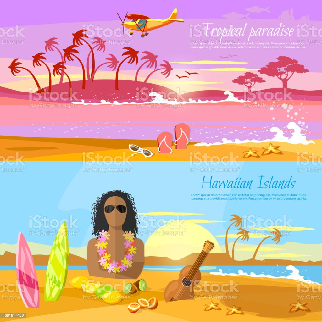 Travel in summer. Tropical beach banner, paradise island for rest. Travel to Hawaii, Tahiti. Surfer on beautiful beach. Perfect tropical paradise vector art illustration