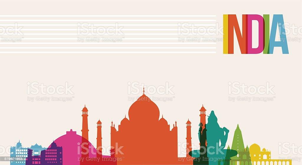Travel India destination landmarks skyline background vector art illustration