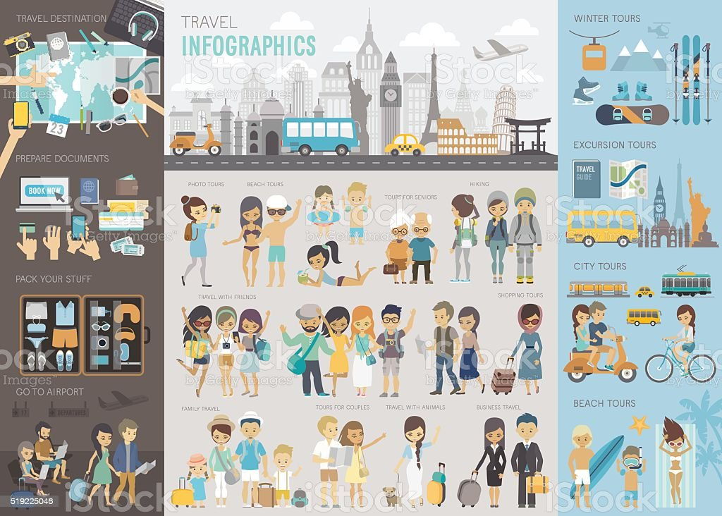 Travel Infographic set with charts and other elements. vector art illustration
