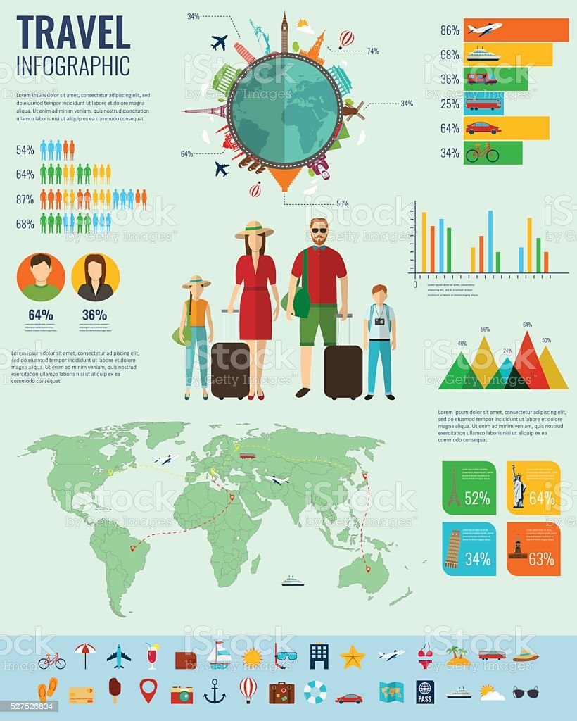 Travel Infographic set with charts and other elements. royalty-free stock vector art