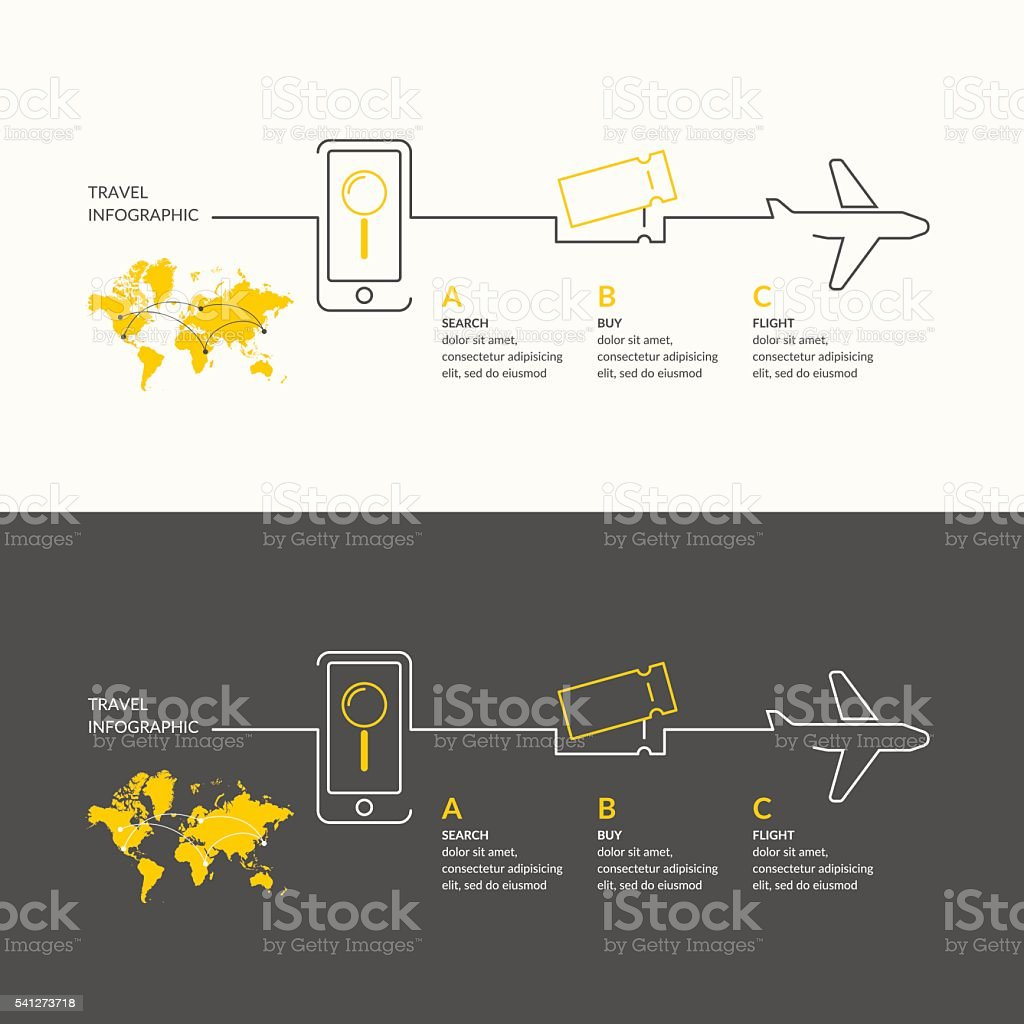 Vector illustration for travel infographics with the air tickets,...