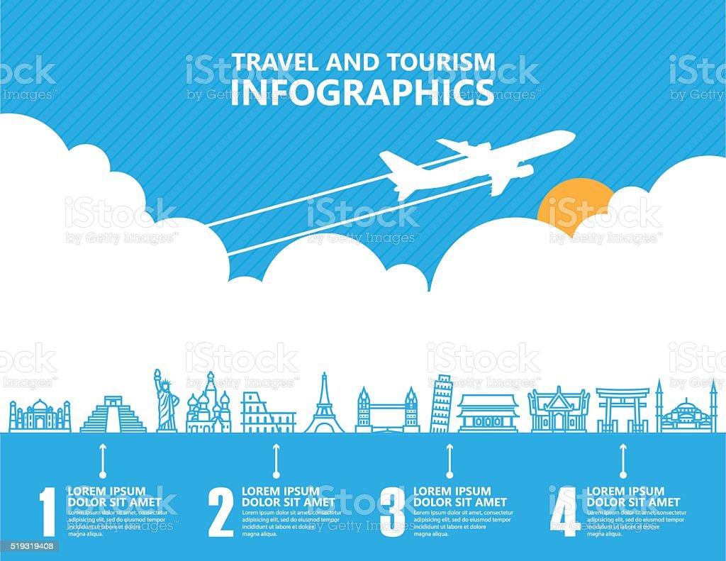 Travel infographics ,landmark and transport vector art illustration