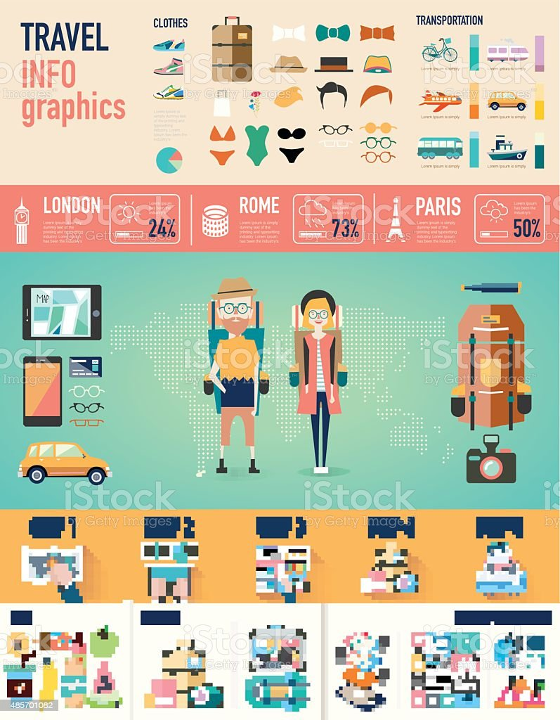 travel infographics. Vector Background vector art illustration