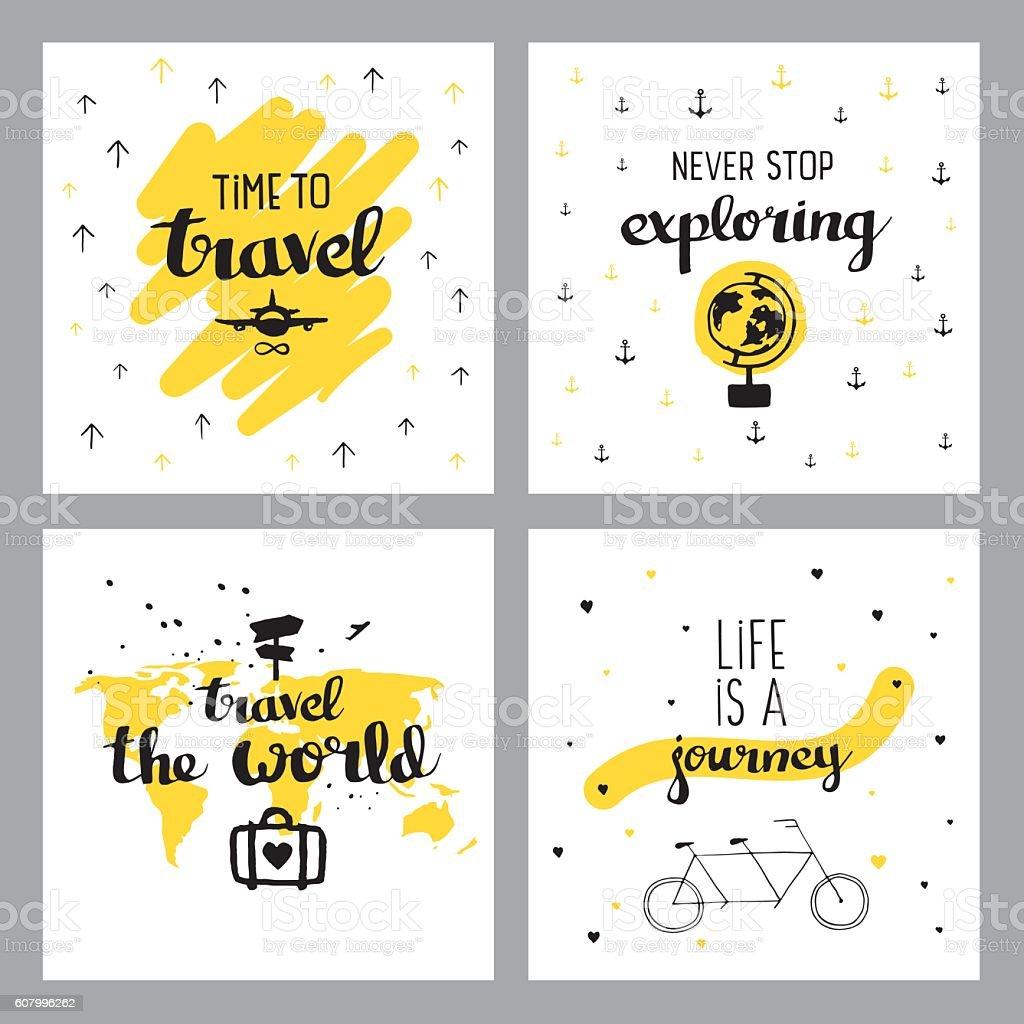 Travel inspiring quotes vector art illustration