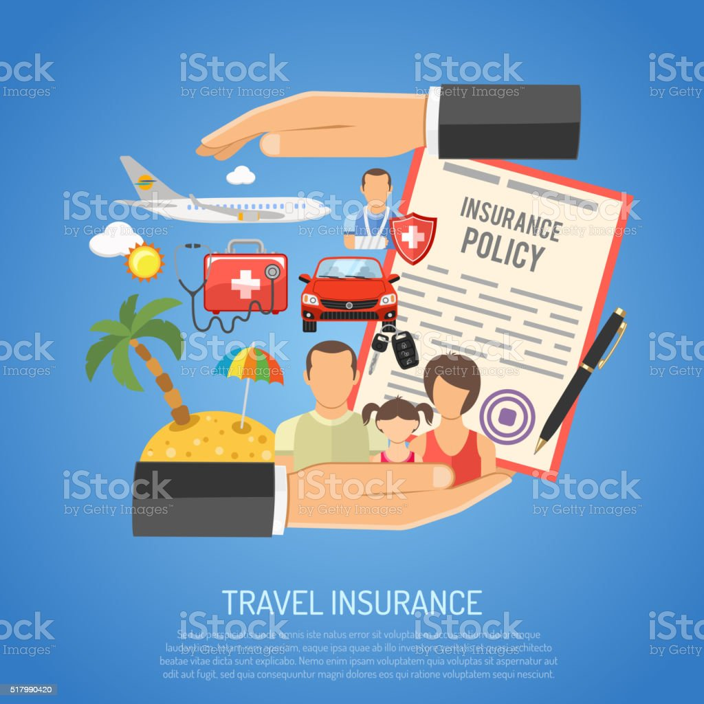 Travel Insurance Concept vector art illustration