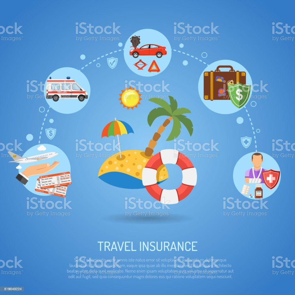 Travel Insurance Infographics vector art illustration