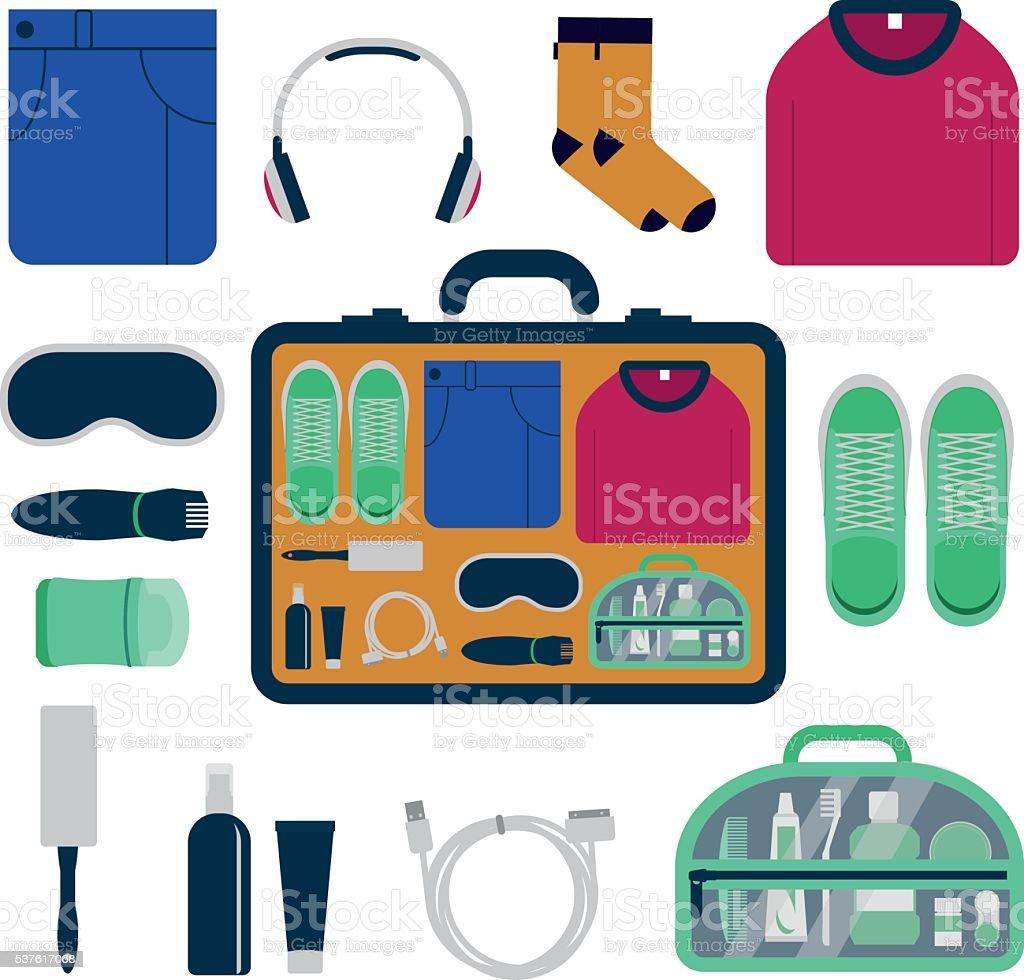 Travel kit, set of essential things for men. vector art illustration