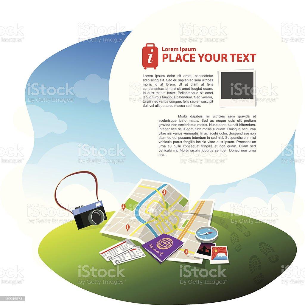 Travel Kits with Speech bubble vector art illustration