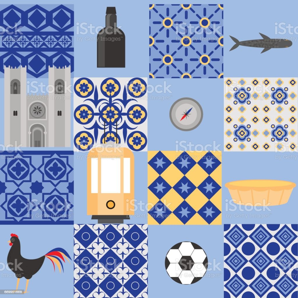 Travel landmark Portugal elements. Flat architecture and building icons Cathedral of Lisbon. National portuguese symbol wine porto, traditional tile azulezhu. Dessert pastel, rooster, ball, yellow tram, compass, fish. vector art illustration