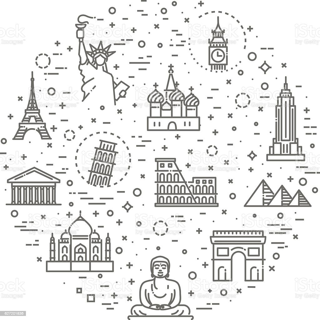Travel landmarks line icon set vector art illustration