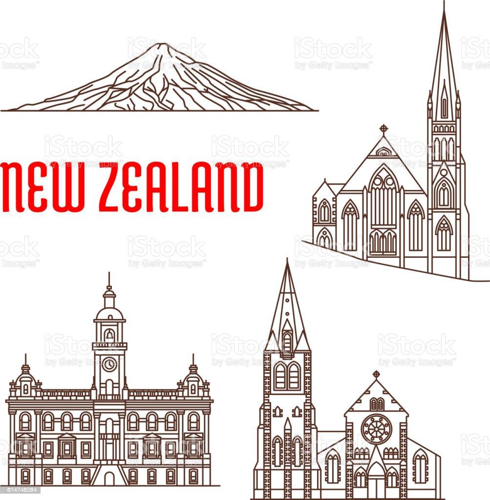 Travel landmarks of New Zealand thin line icon vector art illustration