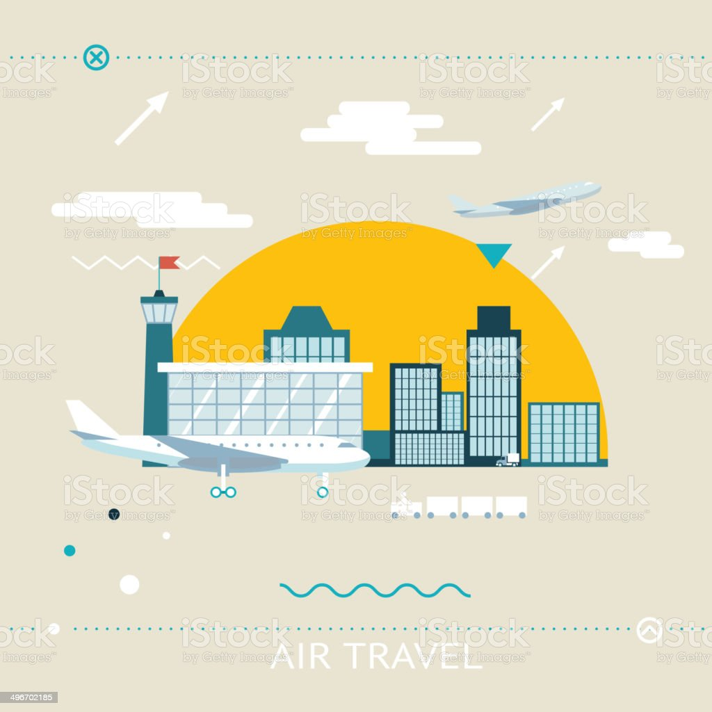 Travel Lifestyle Concept of Planning a Summer Vacation Tourism and vector art illustration