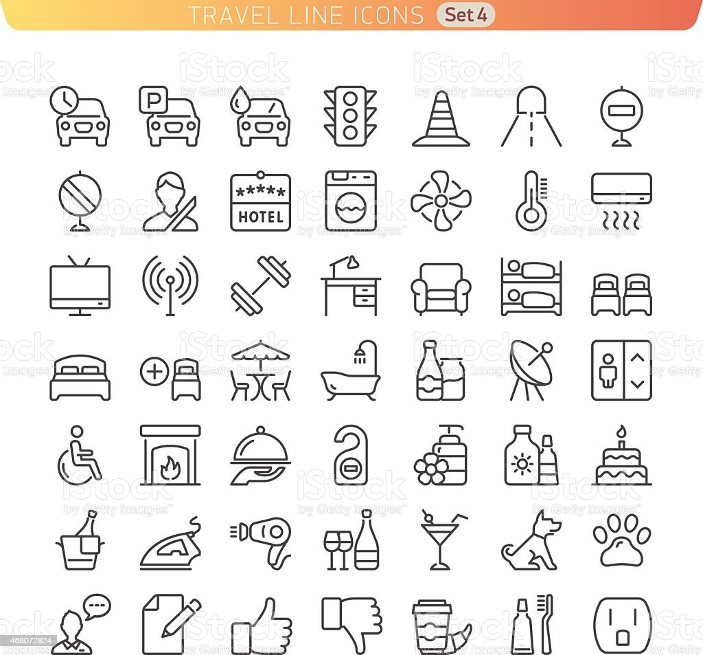 Travel Line Icons. Set 4 vector art illustration