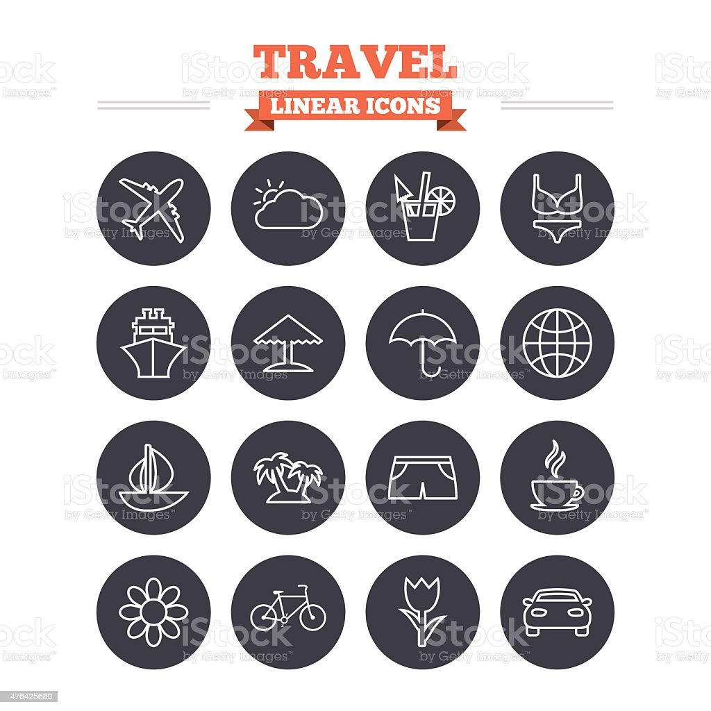 Travel linear icons set. Thin outline signs. Vector vector art illustration