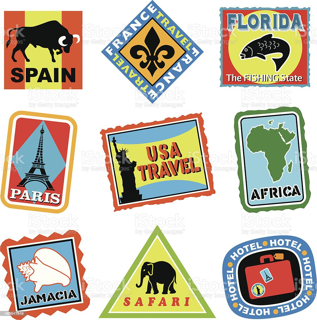 travel luggage labels or stickers in color vector art illustration