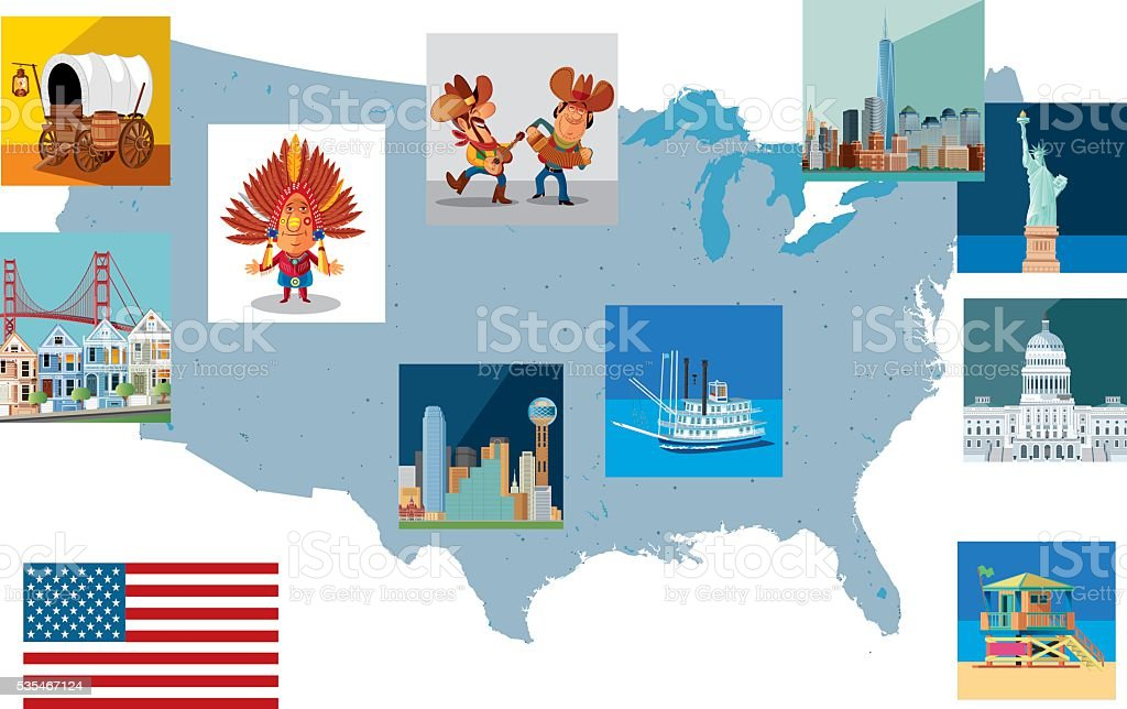 USA travel map vector art illustration