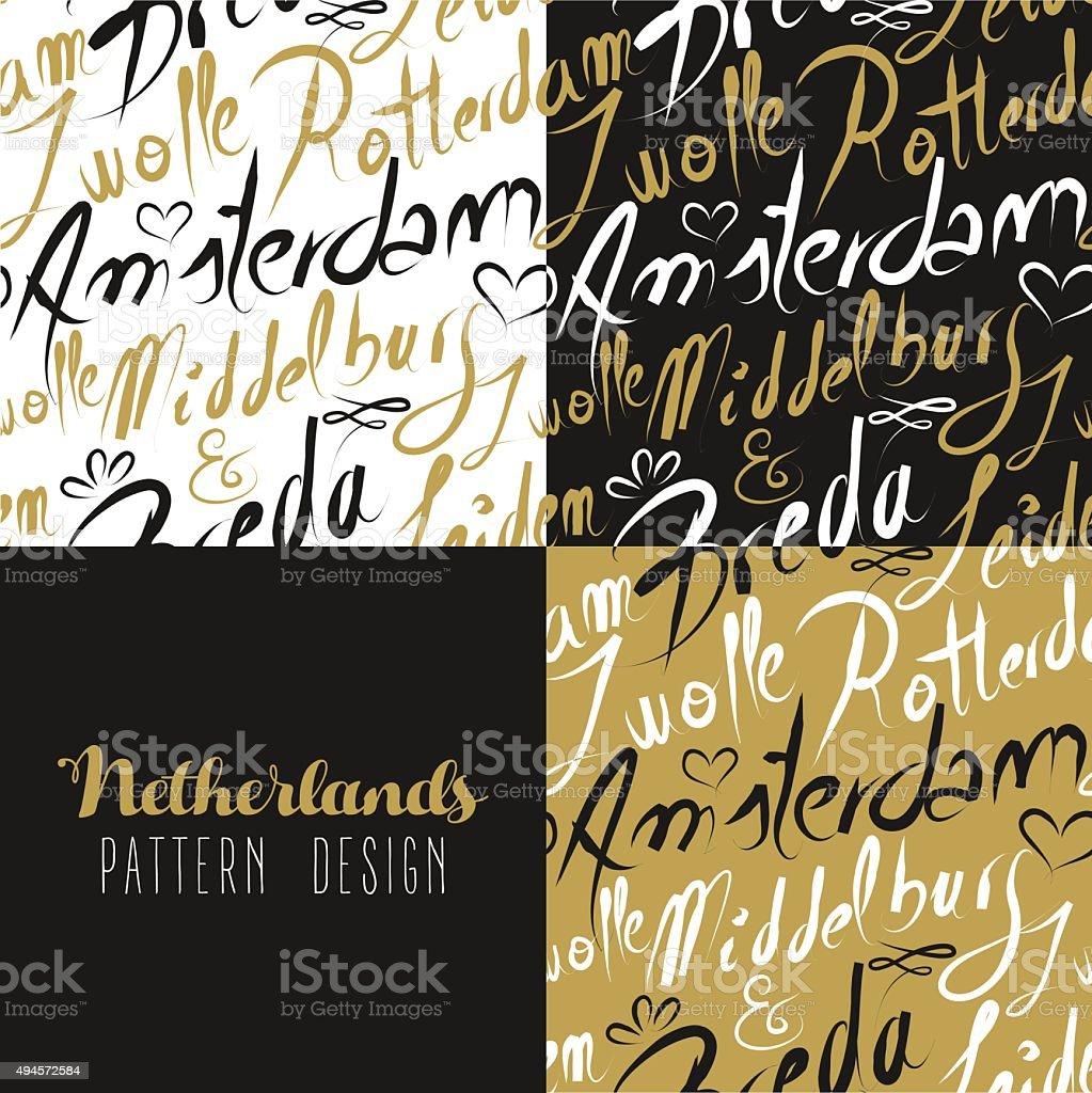 Travel netherlands europe gold seamless pattern vector art illustration