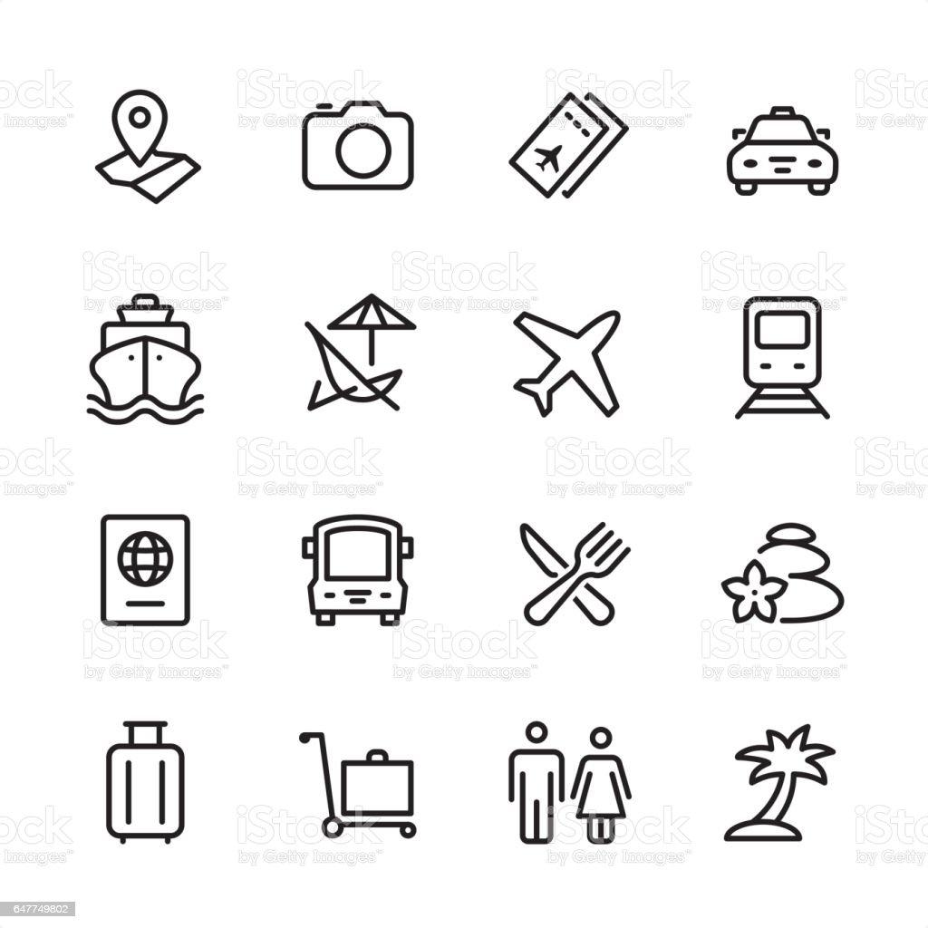 Travel - outline icon set vector art illustration