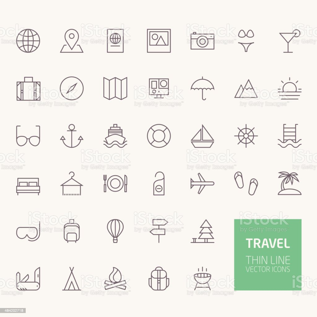 Travel Outline Icons for web and mobile apps vector art illustration