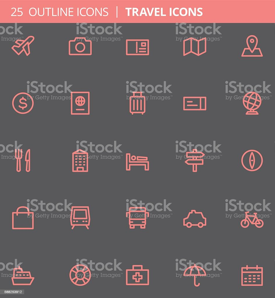 Travel Outline Icons (Set of 25) vector art illustration