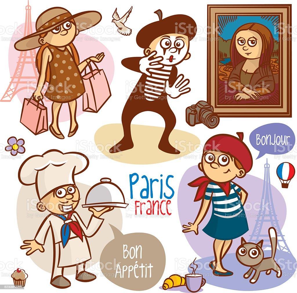Travel Paris France People Objects vector art illustration