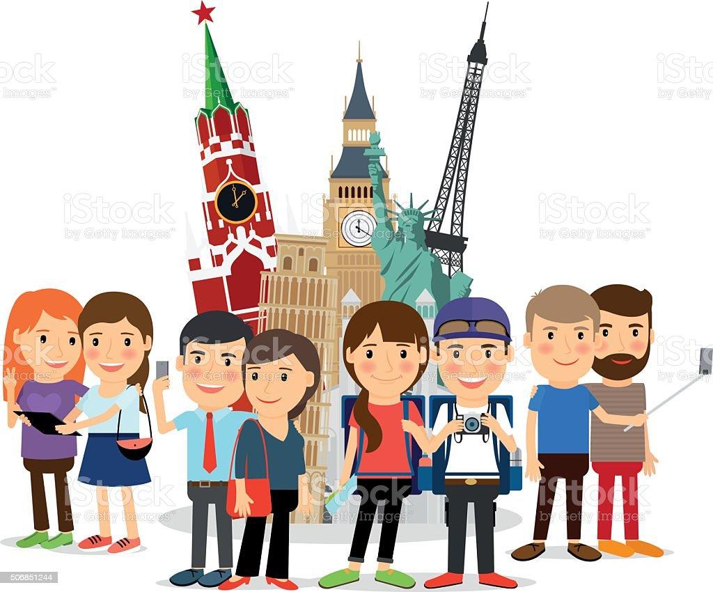 Travel people taking selfie front landmarks vector art illustration