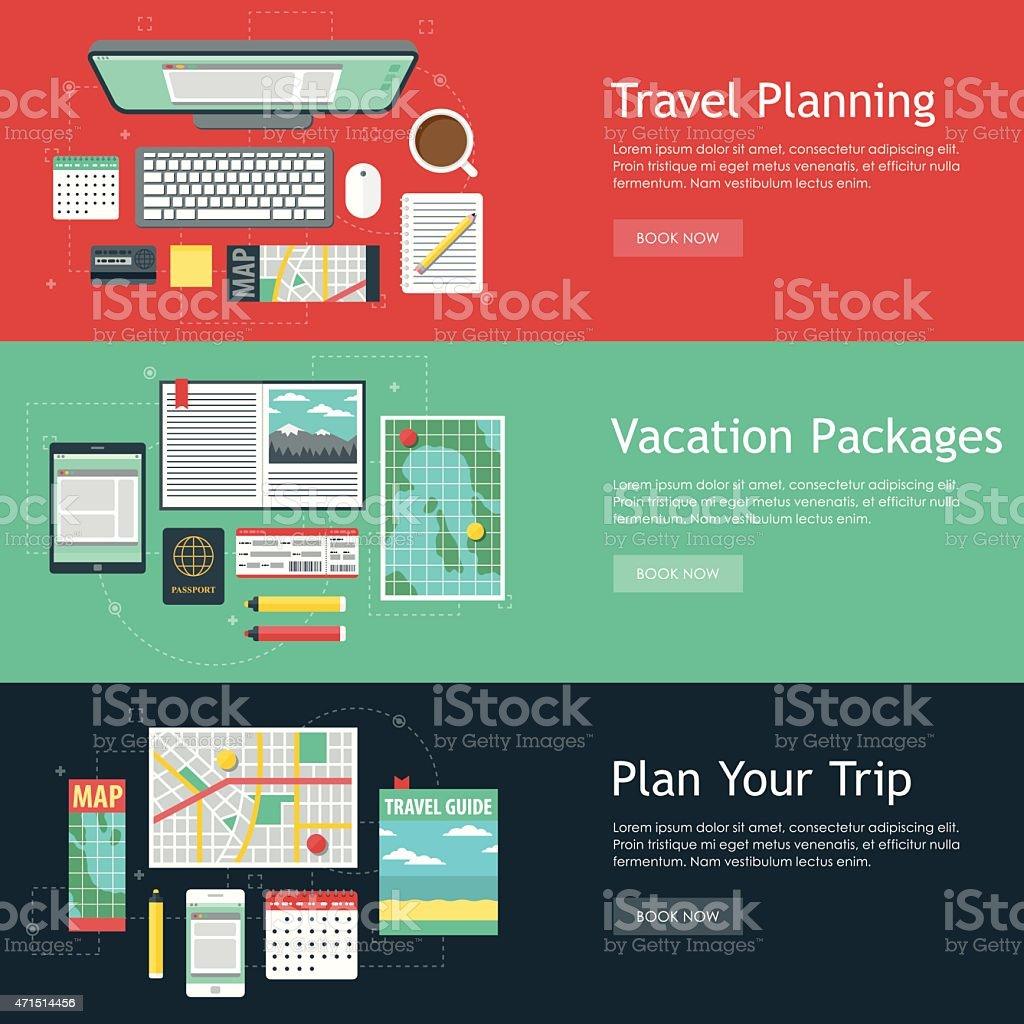 Travel Planning Vector Web Banner Set vector art illustration