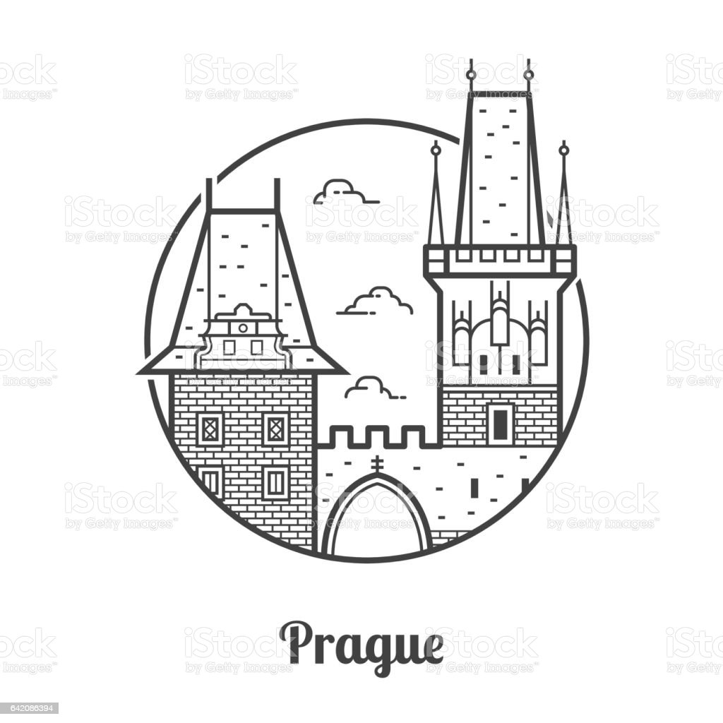 Travel Prague Icon vector art illustration