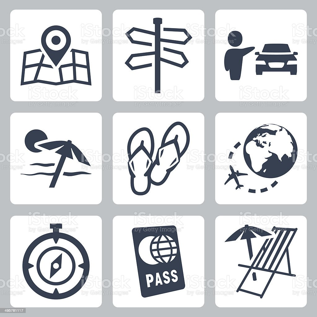 Travel related vector icons set vector art illustration