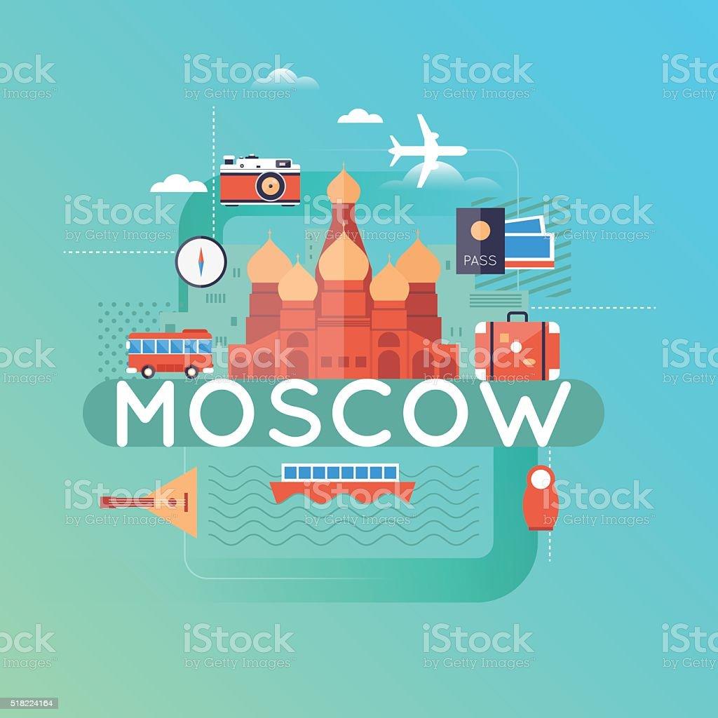 Travel Russia. World Travel. Planning summer vacations. vector art illustration