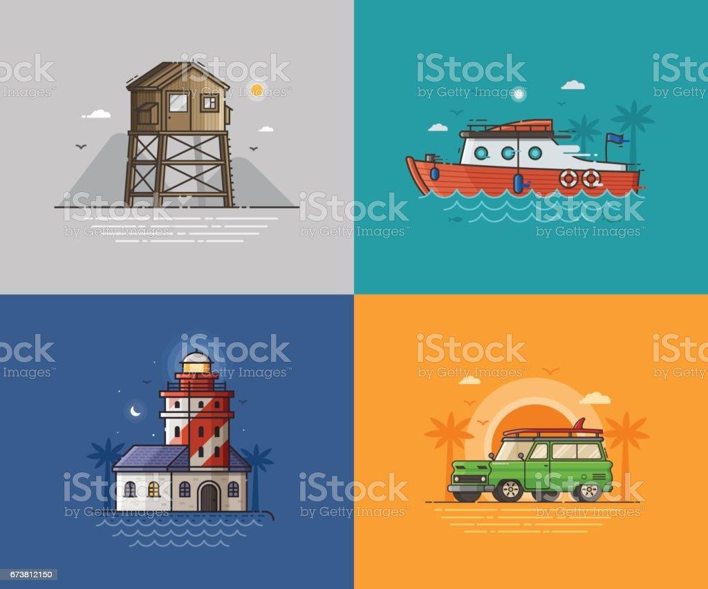 Travel Seaside Backgrounds vector art illustration