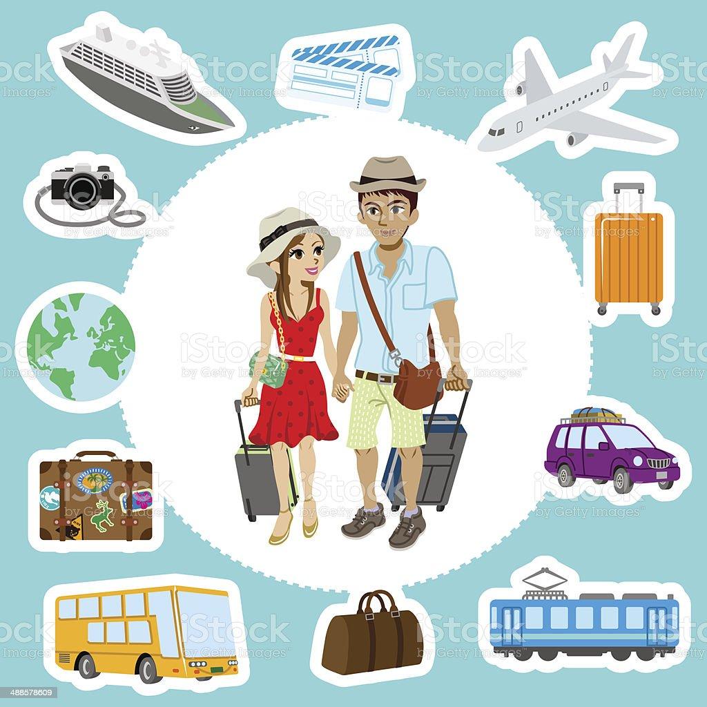 Travel set ,Couple vector art illustration