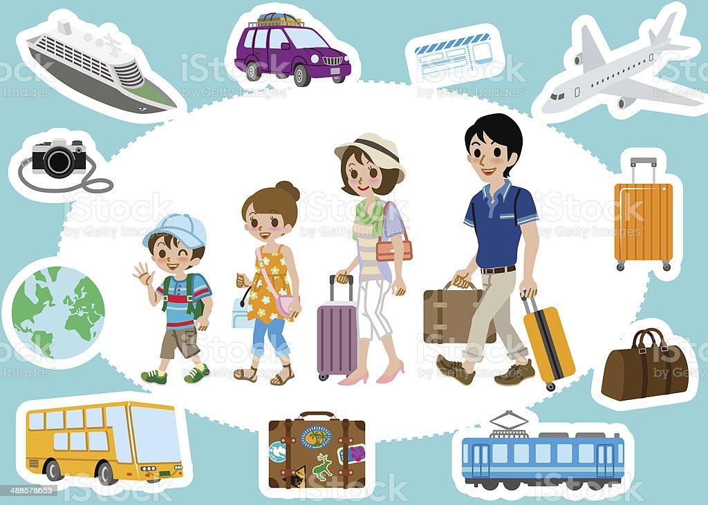 Travel set ,Family vector art illustration