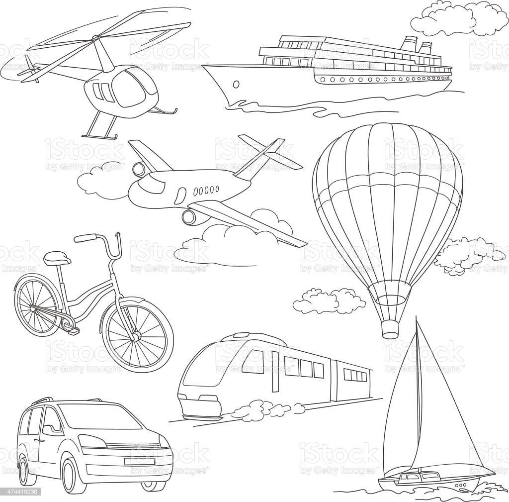 Conjunto de viagem com carro, balões de ar, navios, avião, helicóptero, de bicicleta vetor e ilustração royalty-free royalty-free